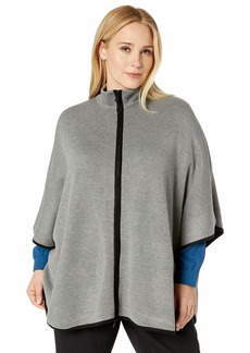 Anne Klein Women's Size Plus Zip Front Cape BOLSHOI Grey/Black