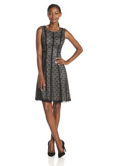 Anne Klein Women's Sleeveless Banded Lace Fit and Flare Dress