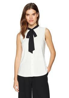 Anne Klein Women's Sleeveless Bow Blouse  XS