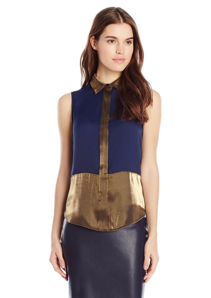 Anne Klein Women's Sleeveless Button Down Blouse