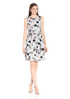 Anne Klein Women's Sleeveless Cotton Lawn Printed Self Belted Fit and Flare Dress