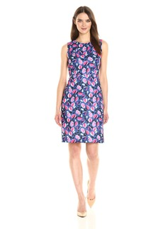 Anne Klein Women's Sleeveless Crew Neck Printed a-Line Dress