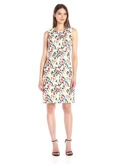 Anne Klein Women's Sleeveless Crew Neck Printed a-Line Dress