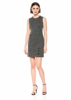 Anne Klein Women's Sleeveless FIT & Flare Button Skirt Dress Black/Anne White