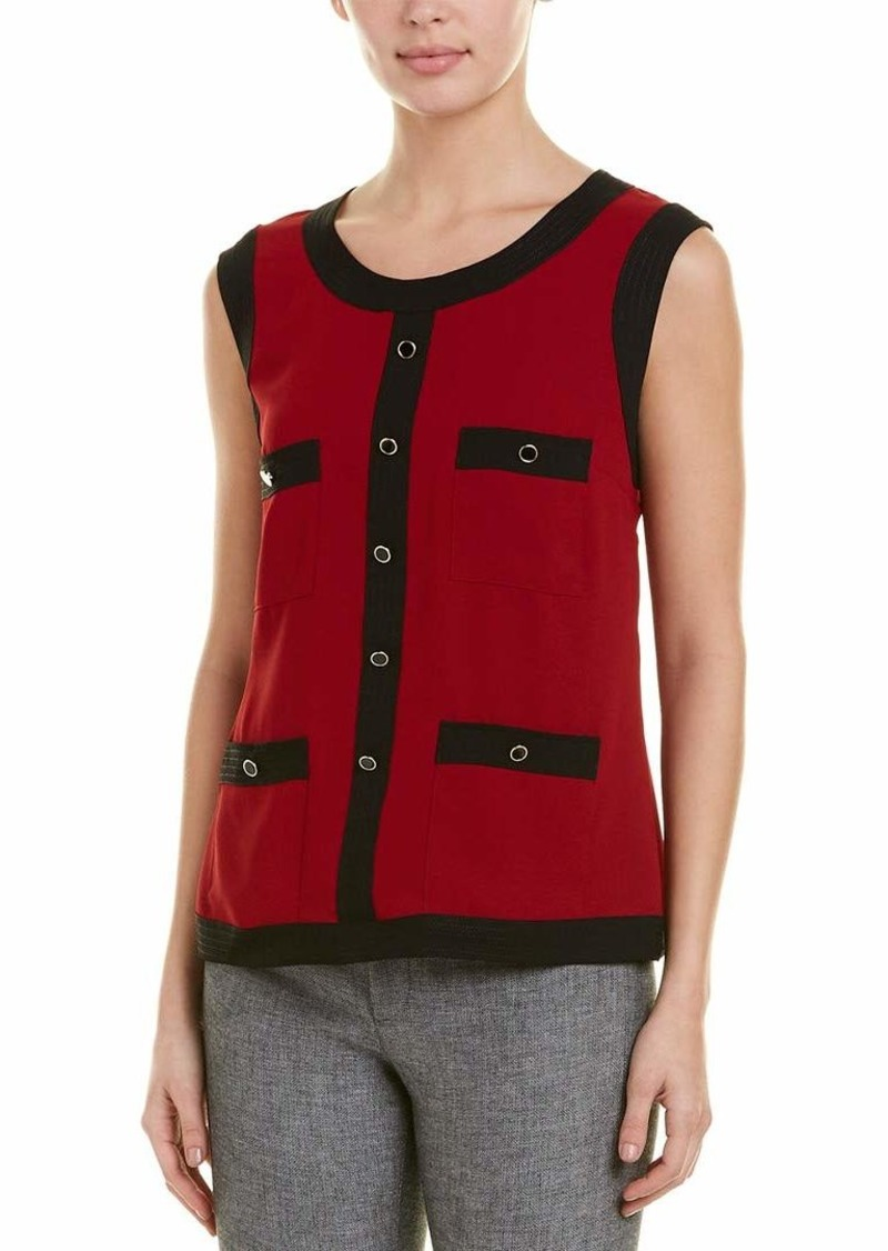 Anne Klein Women's Sleeveless Framed Blouse Anne Black/Titian red S
