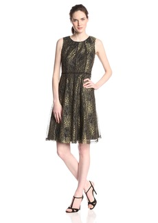 Anne Klein Women's Sleeveless Lace Fit and Flare Dress