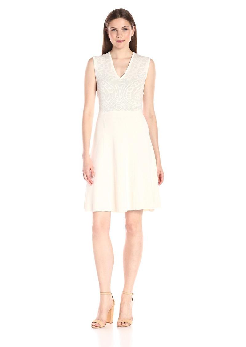 Anne Klein Women's Sleeveless Lace Jacquard Sweater Dress