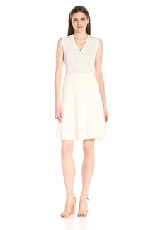 Anne Klein Women's Sleeveless Lace Jacquard Sweater Dress