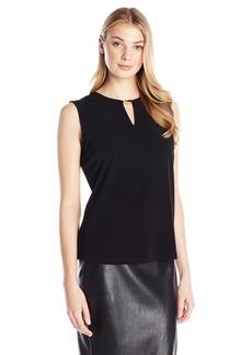 Anne Klein Women's Sleeveless Metal Bar Knit Top  X-Large
