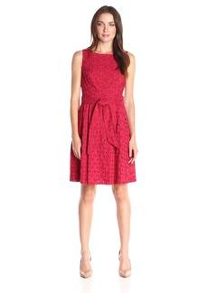 Anne Klein Women's Sleeveless Novelty Self Sash Eyelet Fit and Flare Dress
