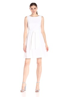 Anne Klein Women's Sleeveless Novelty Self-Sash Fit-and-Flare Dress