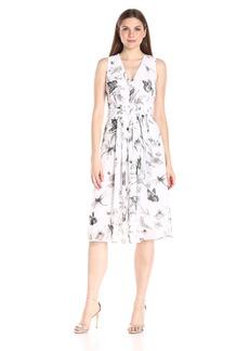 Anne Klein Women's Sleeveless Printed Chiffon Self Belted V-Neck Dress