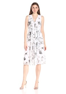Anne Klein Women's Sleeveless Printed Chiffon Self Belted V-Neck Dress