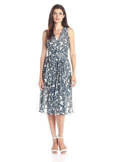 Anne Klein Women's Sleeveless Printed Chiffon V-Neck Midi Dress