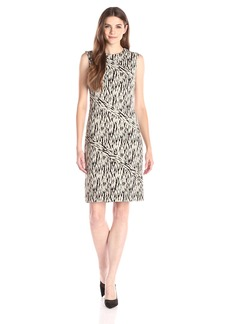 Anne Klein Women's Sleeveless Printed Diagonal Seam Sheath Dress