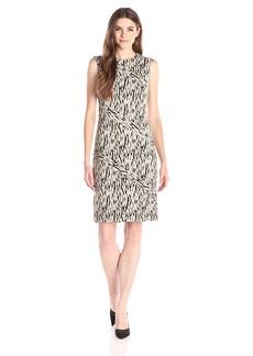 Anne Klein Women's Sleeveless Printed Diagonal Seam Sheath Dress
