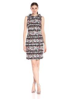 Anne Klein Women's Sleeveless Printed Faille Roll Neck Sheath Dress