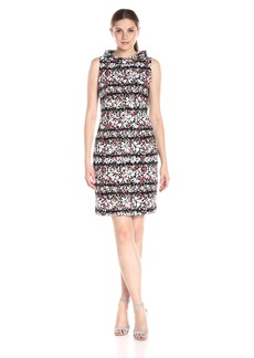 Anne Klein Women's Sleeveless Printed Faille Roll Neck Sheath Dress