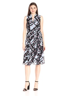 Anne Klein Women's Sleeveless Printed Georgette Drawstring Midi Dress