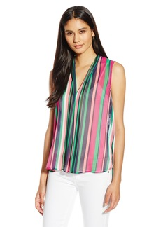 Anne Klein Women's Sleeveless Printed Sheer Stripe Blouse