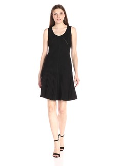 Anne Klein Women's Sleeveless Scoop Neck Knit Rib a-Line Dress