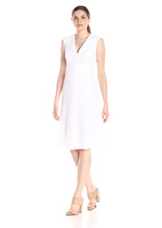 Anne Klein Women's Sleeveless Sheer Novelty Vneck Fit and Flare Dress