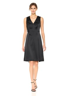 Anne Klein Women's Sleeveless V-Neck Fit and Flare Satin Dress