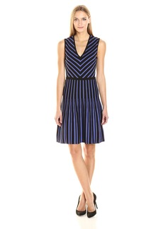 Anne Klein Women's Sleeveless V-Neck Fit and Flare Sweater Dress  L