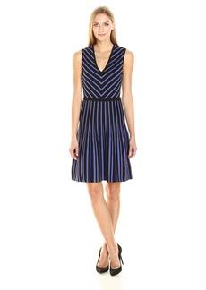 Anne Klein Women's Sleeveless V-Neck Fit & Flare Sweater Dress  M