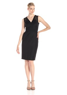 Anne Klein Women's Sleeveless V Neck Lace Cocktail Dress
