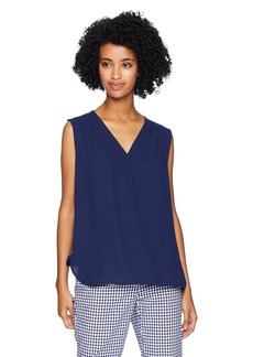 Anne Klein Women's Sleeveless V-Neck Pleated Blouse  S