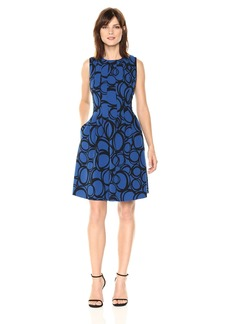 Anne Klein Women's Sleeveless Vertical Seamed Fit and Flare Printed Dress