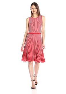 Anne Klein Women's Sleeveless Vertical Stripe Knit Dress  L