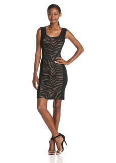 Anne Klein Women's Sleeveless Zebra Applique Sheath Dress Black/Latte