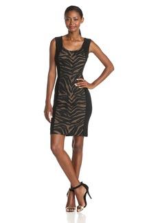 Anne Klein Women's Sleeveless Zebra Applique Sheath Dress