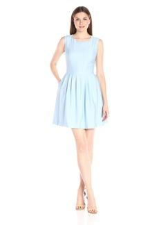 Anne Klein Women's Slub Shantung Vertical-Seamed Fit-and-Flare Dress