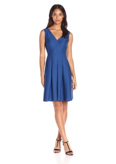 Anne Klein Women's Slub Shantung Vneck Fit and Flare