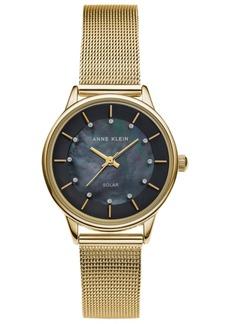 Anne Klein Women's Solar Gold-Tone Mesh Bracelet Watch 32mm