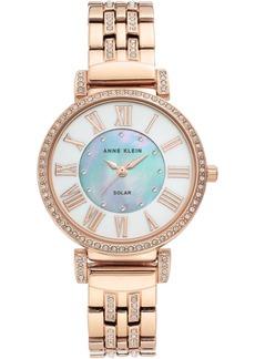Anne Klein Women's Considered Solar-Powered Rose Gold-Tone Bracelet Watch 34mm
