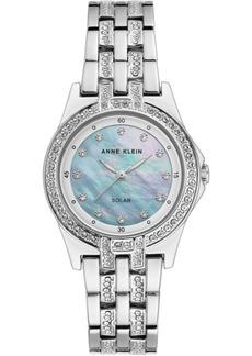 Anne Klein Women's Considered Solar-Powered Silver-Tone Bracelet Watch 31.5mm