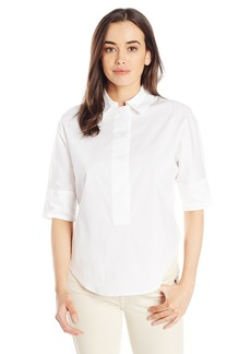 Anne Klein Women's Solid Cotton Blouse