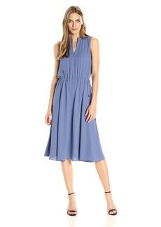 Anne Klein Women's Solid Drawstring Waist Midi Dress