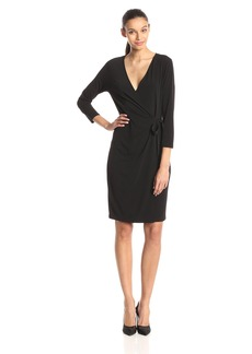 Anne Klein Women's Solid Faux Wrap Dress  Large