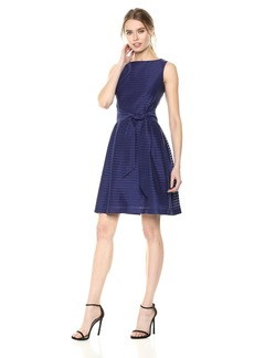 Anne Klein Women's Solid Shadow Stripe Fit and Flare Dress