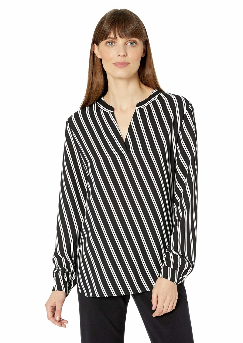 Anne Klein Women's Split Neck Blouse BLK/Anne White XS