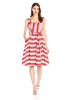 Anne Klein Women's Square Neck Striped Self Belted Fit and Flare