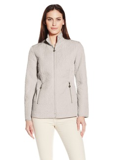 Anne Klein Women's Stand Collar Short Rose Quilted Jacket