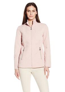 Anne Klein Women's Stand Collar Short Rose Quilted Jacket