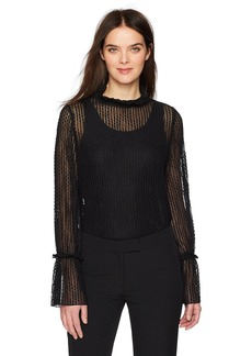 Anne Klein Women's Stretch Lace Blouse With Flared Sleeve