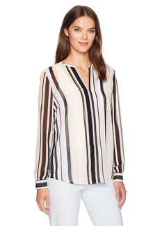 Anne Klein Women's Stripe V-Neck Blouse